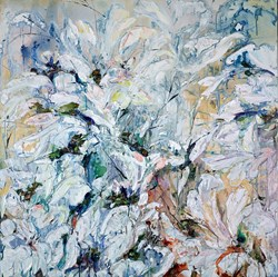 Bloom II by Maya Eventov - Original Painting on Box Canvas sized 40x40 inches. Available from Whitewall Galleries